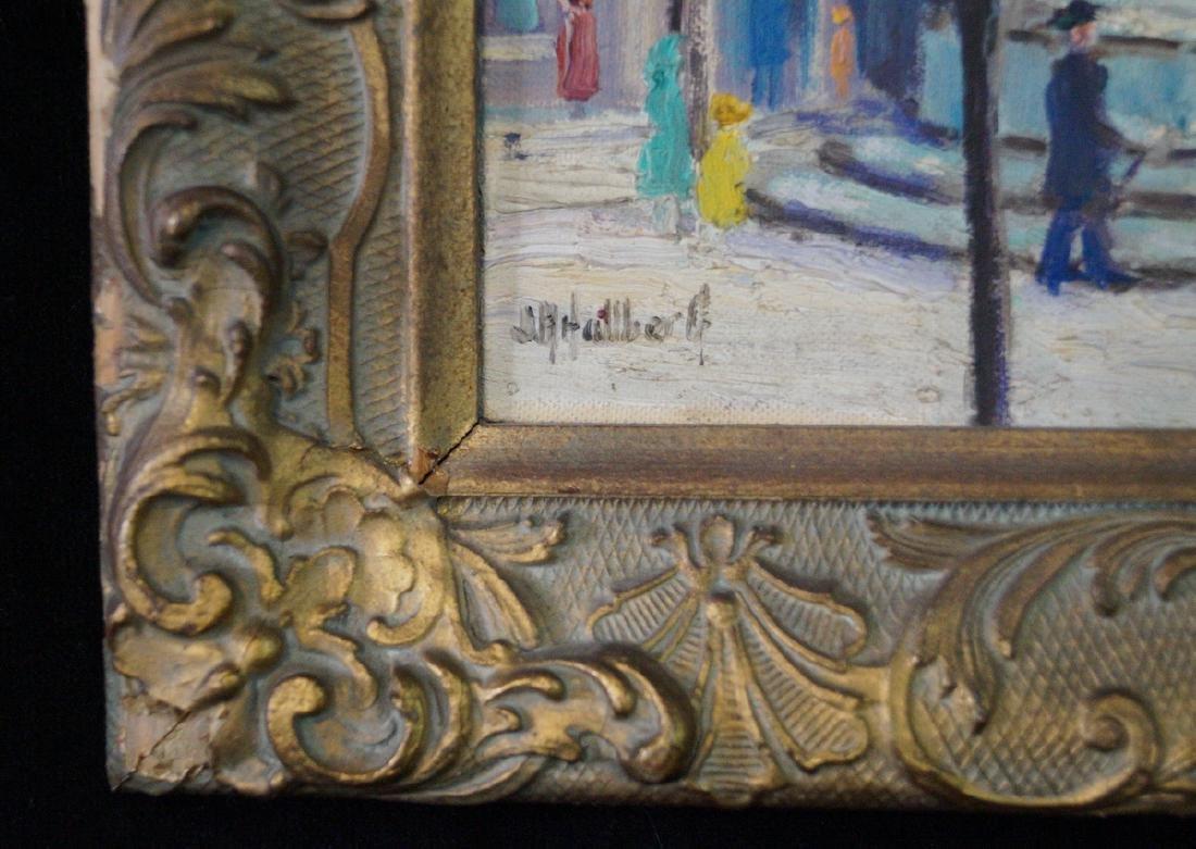 "HALLBERG ? OIL ON ARTISTS BOARD ""59TH STREET & 5TH AVE"" - 4"