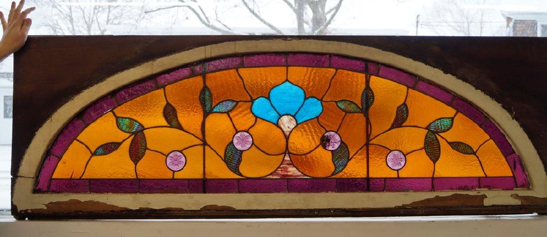 LEADED STAIN GLASS FLORAL DOME WINDOW