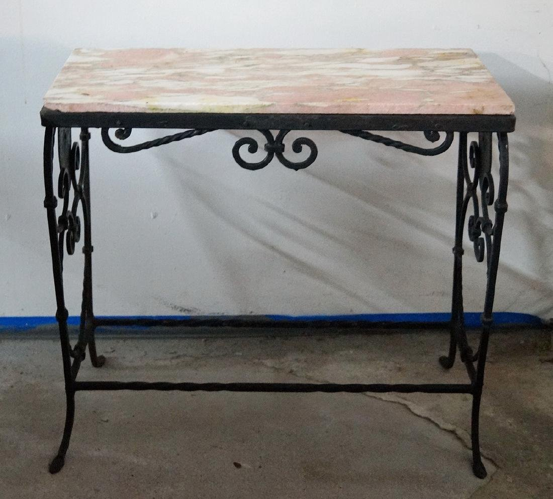 WROUGHT IRON MARBLE TOP LOW TABLE