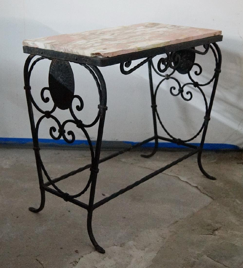 WROUGHT IRON MARBLE TOP LOW TABLE - 2