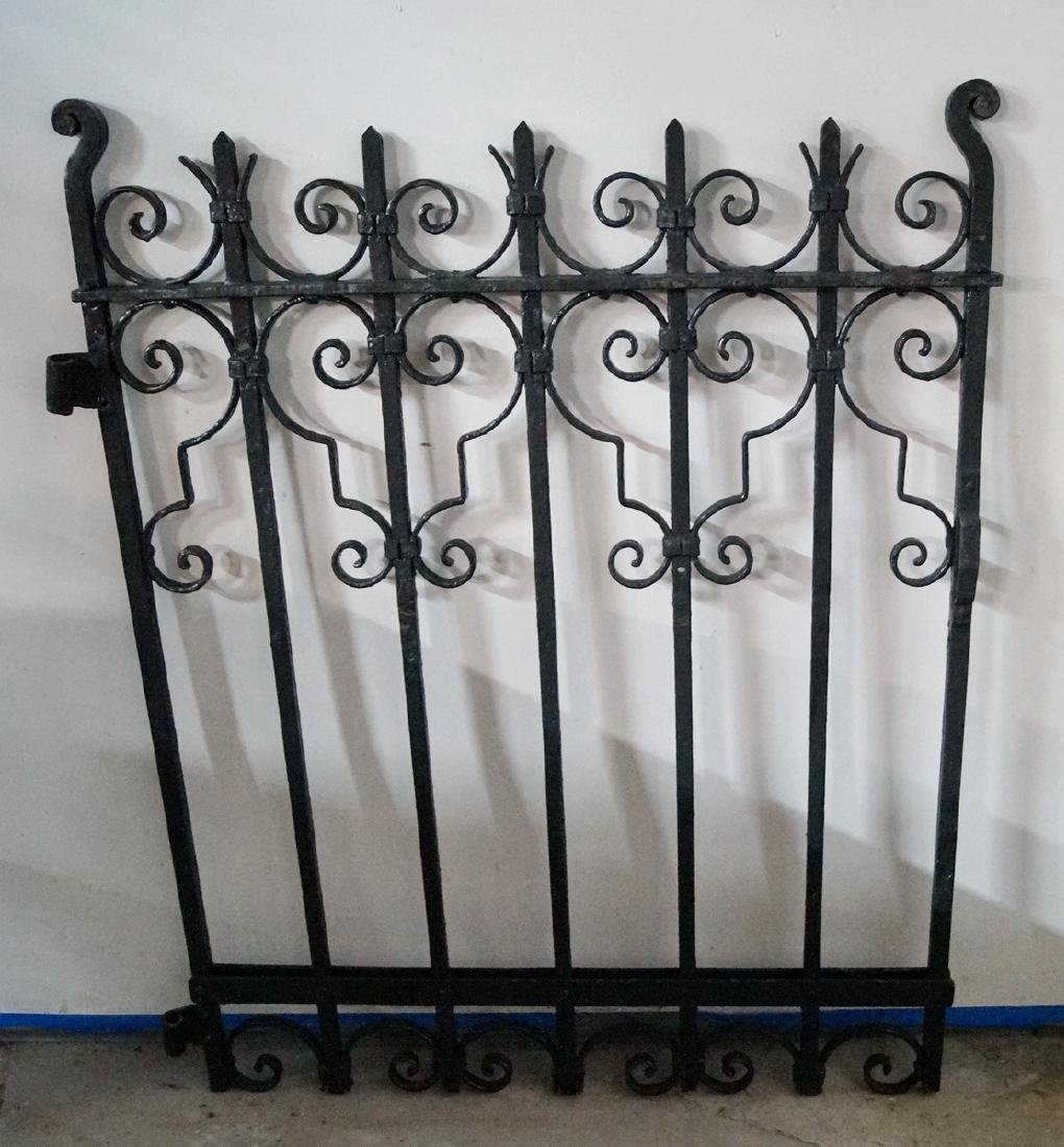 PAINTED WROUGHT IRON GATE W/ SCROLL MOTIF