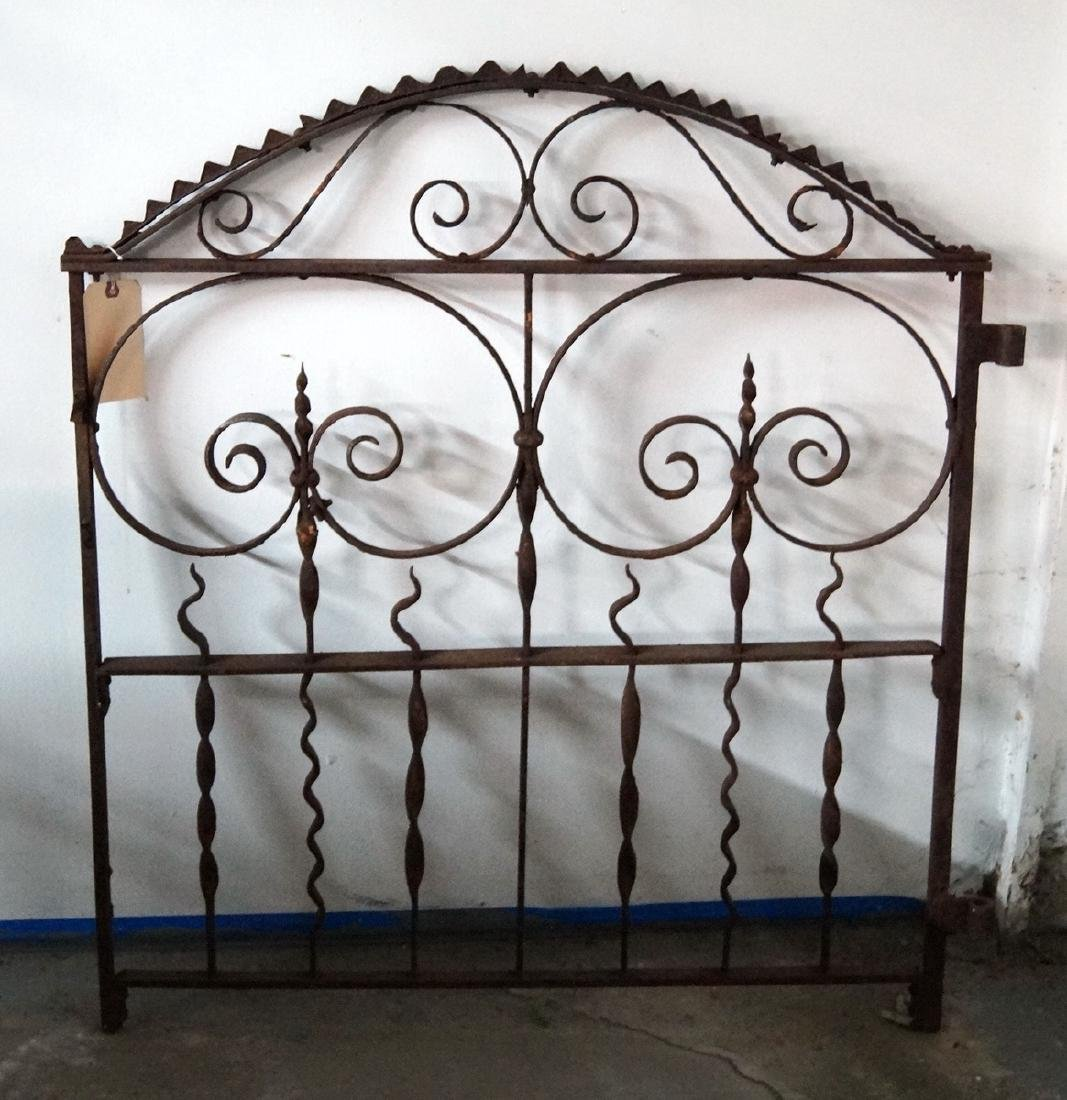 WROUGHT IRON GATE W/ TURNED METAL SPIKES