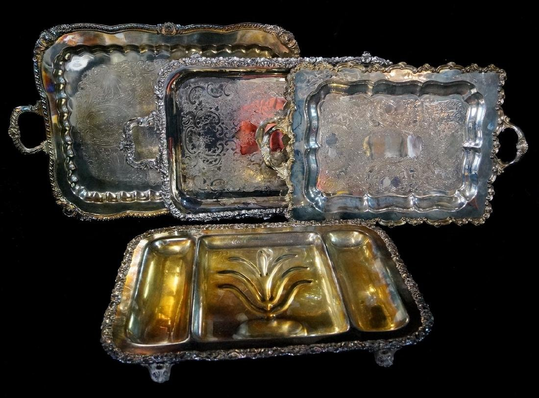 LOT 4 SILVERPLATE TRAYS VARIOUS SIZES