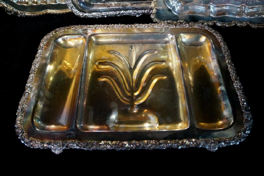 LOT 4 SILVERPLATE TRAYS VARIOUS SIZES - 2