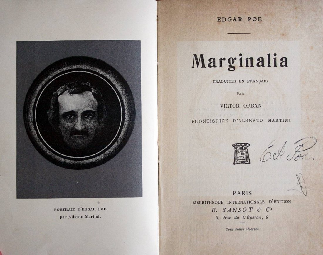 Edgar Allan Poe - Marginalia - first edition -