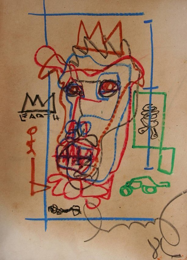 Jean-Michel Basquiat - Drawing on paper 1986