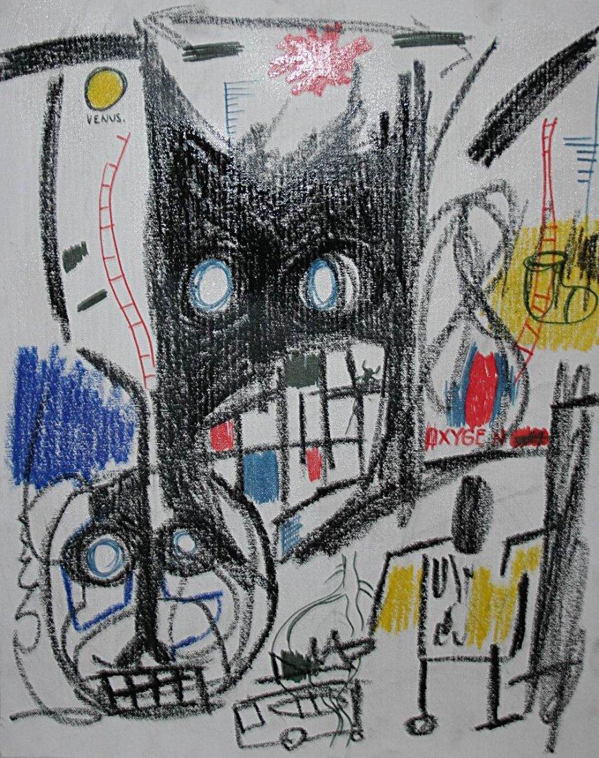 Jean-Michel Basquiat - oilstick on canvas on cardboard