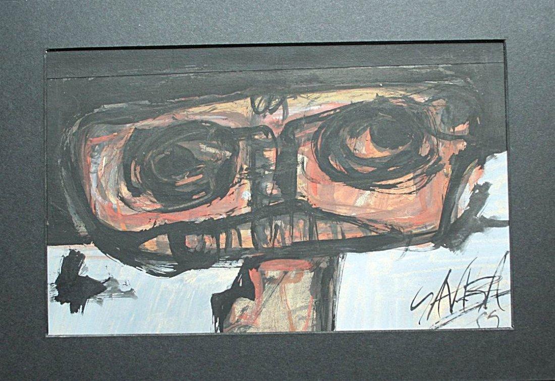 Antonio Saura - Oil on cardboard - 50's decade