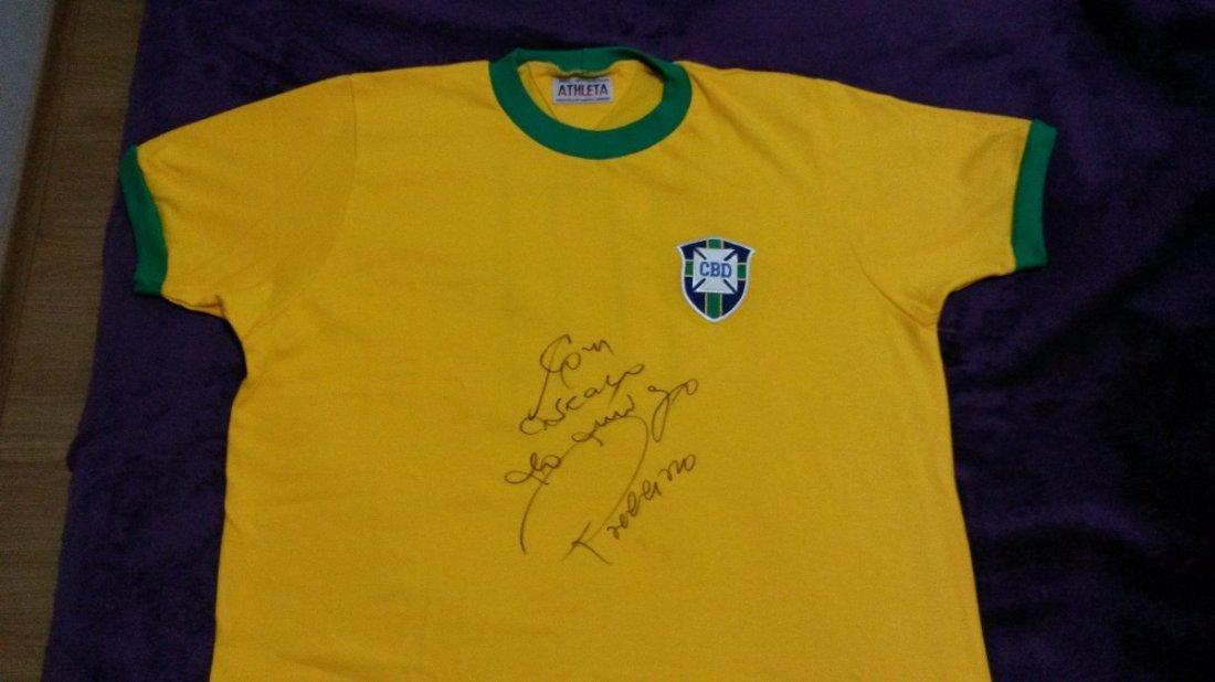 Braziliam team shirt retro - autographed by Rivelino