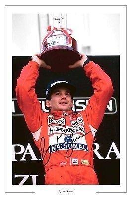 Ayrton Senna Poster autographed