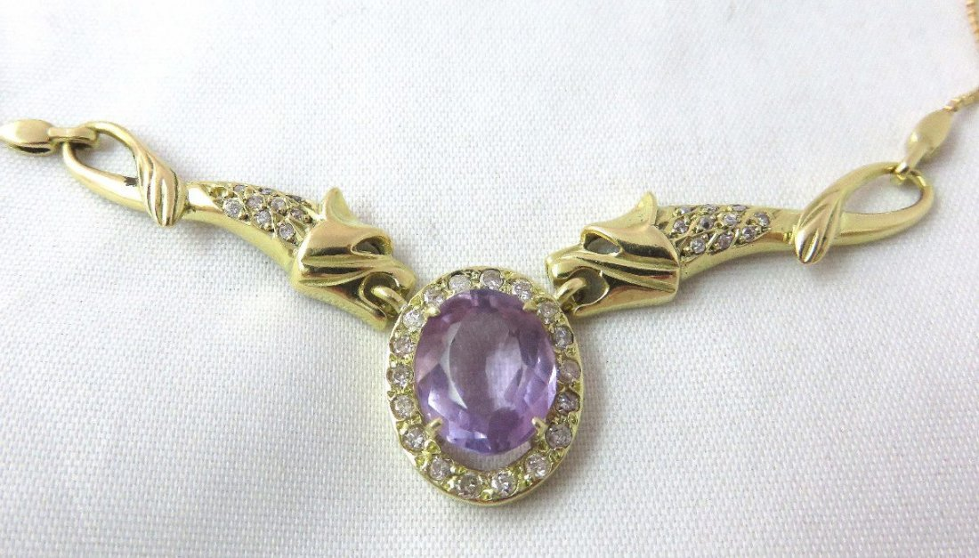Ametista necklace - Gold 18k750 -  Diamond