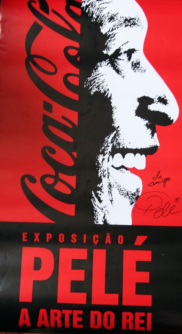 Pelé - coca cola exhibition - poster whit autograph