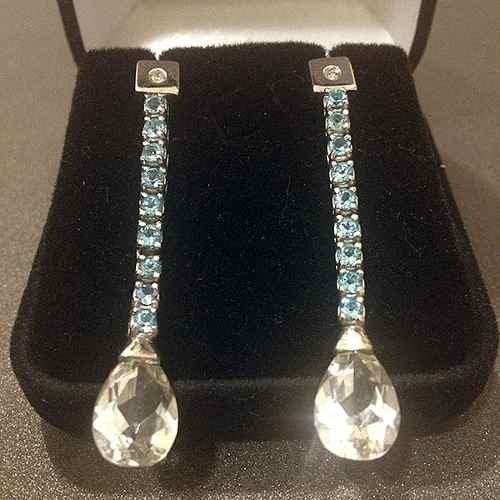 Earring Riviera - Topaz and diamonds - gold 18k/750