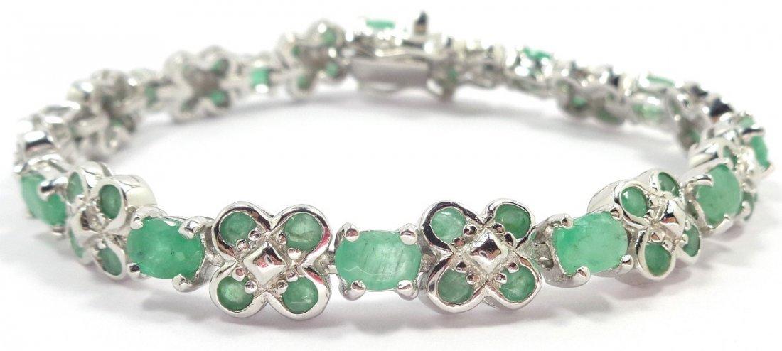Rivera Bracelet - Silver and Natural emerald