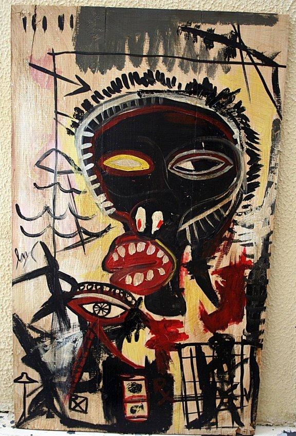 Jean Michel Basquiat - Paint on wood -  1985