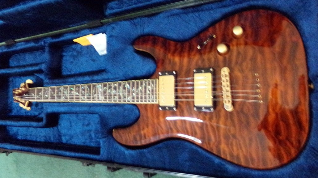 Schecter C-1 Classic Antique Amber, Vine of Life Inlay - 5