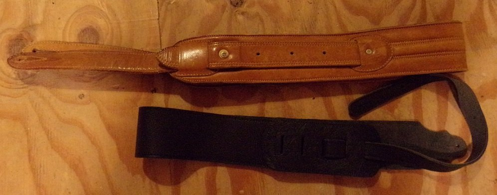 Two Leather Guitar Straps 1 Black 1 Light Brown - 2