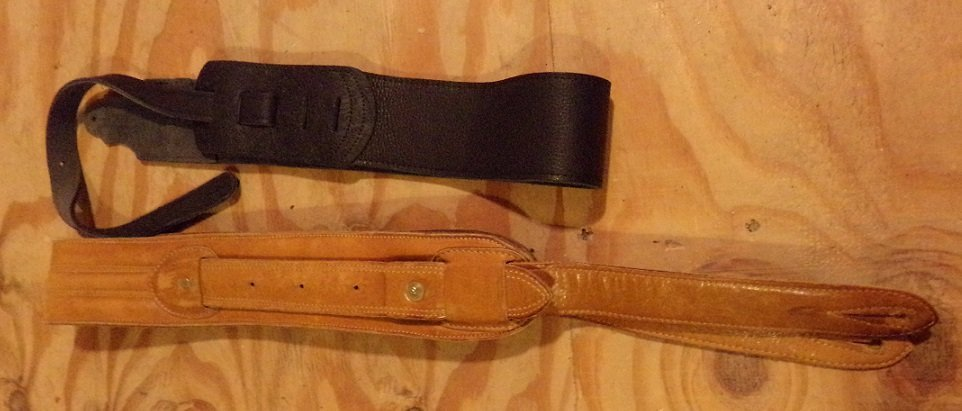 Two Leather Guitar Straps 1 Black 1 Light Brown - 3