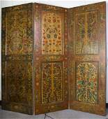 Large Persian Qajar Three Wood Panels Folding Screen