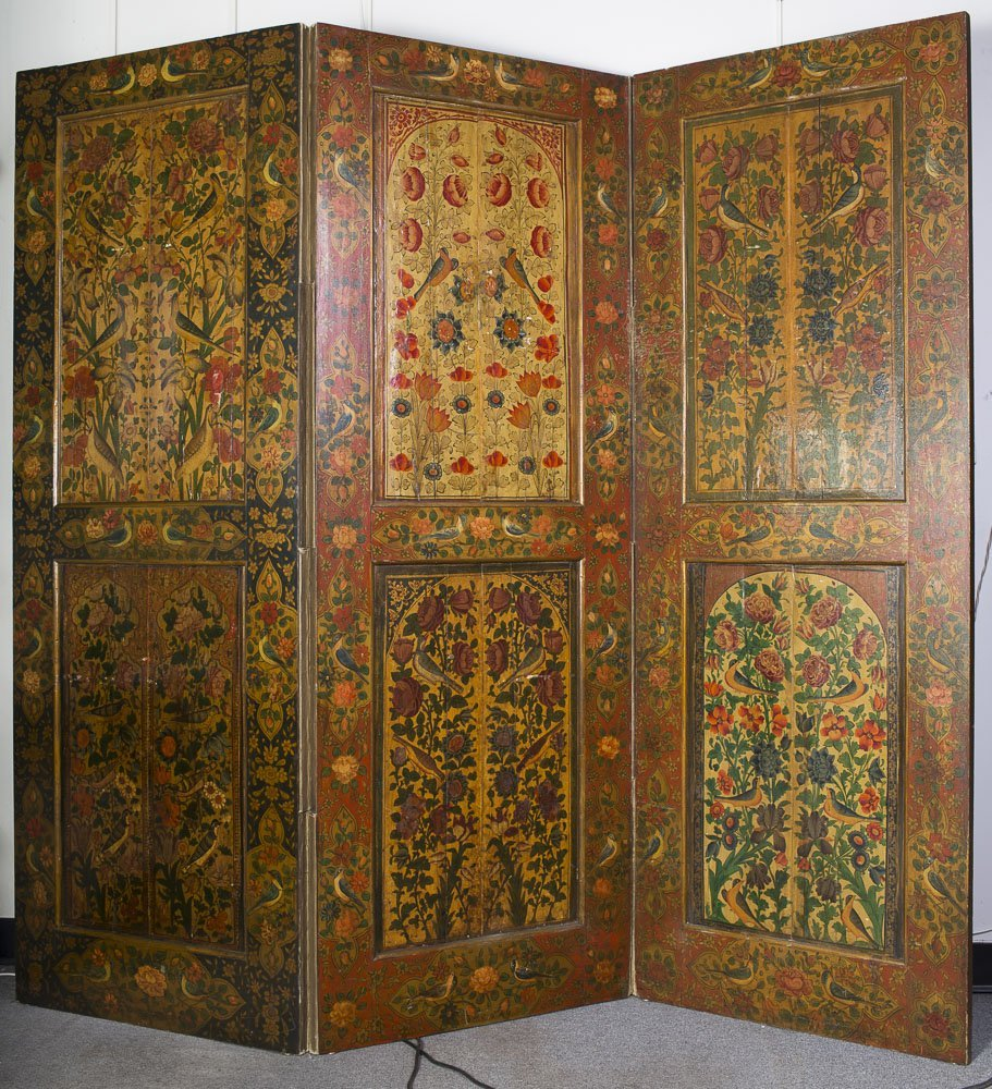 Large Persian Qajar Three Wood Panels Folding Screen