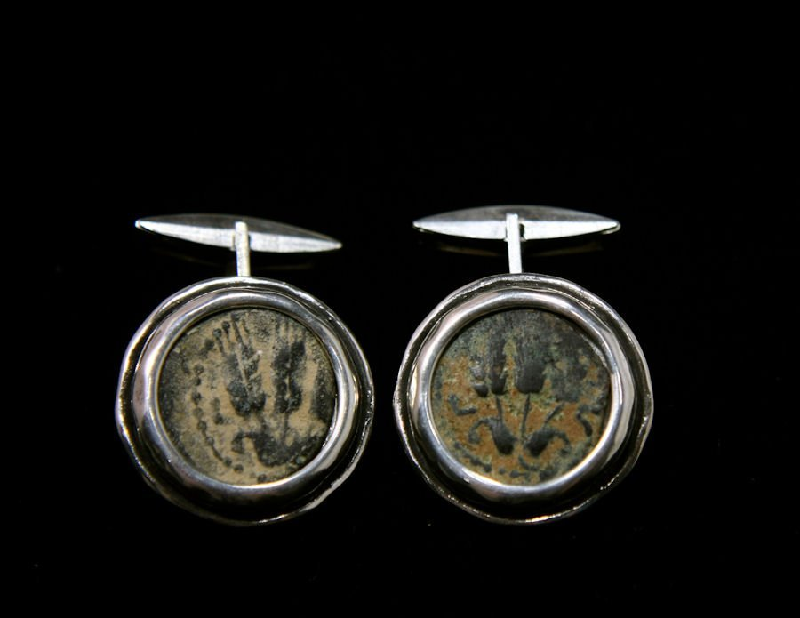 Ancient Judaean Bronze coins set in Silver Cuff-links