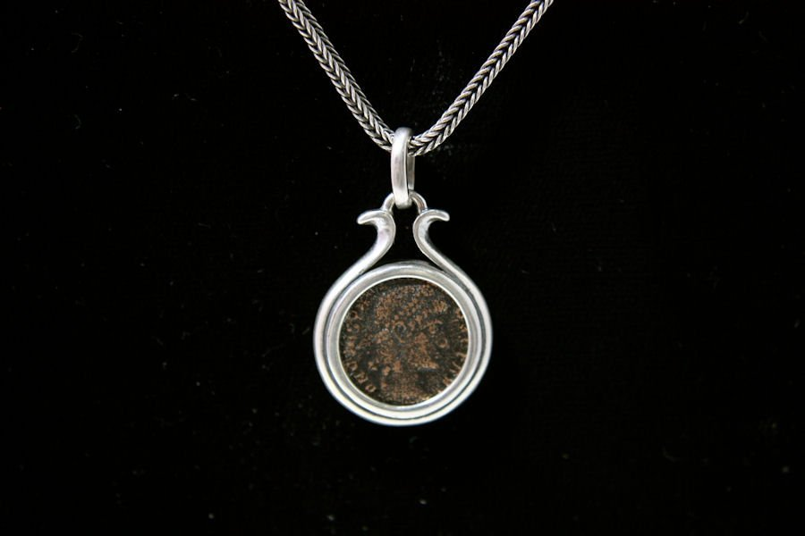 Ancient Roman Bronze coins set in Silver Necklace c.3rd