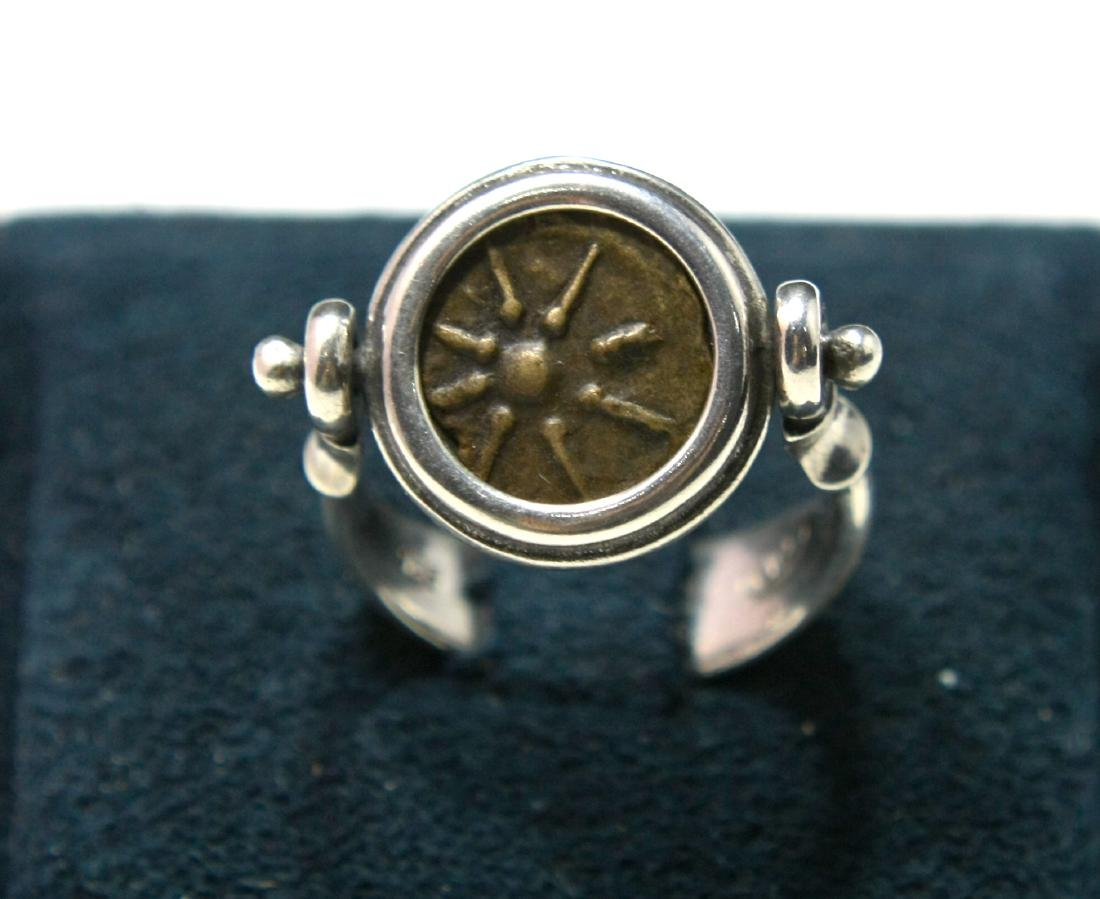 Ancient Widows Mites coin set in Silver ring c.1st cent