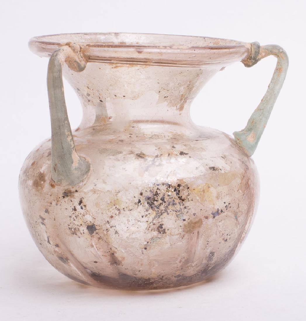 Ancient Roman Glass Jar with three handles c.2nd cen AD