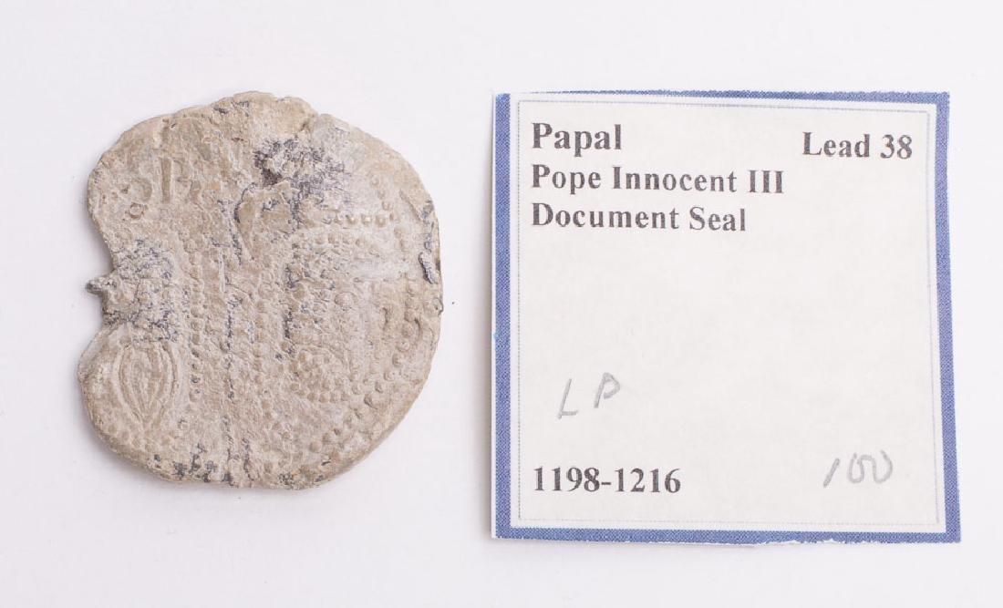 Ancient Byzantine Lead Seal Pope Innocent III c.1198 AD