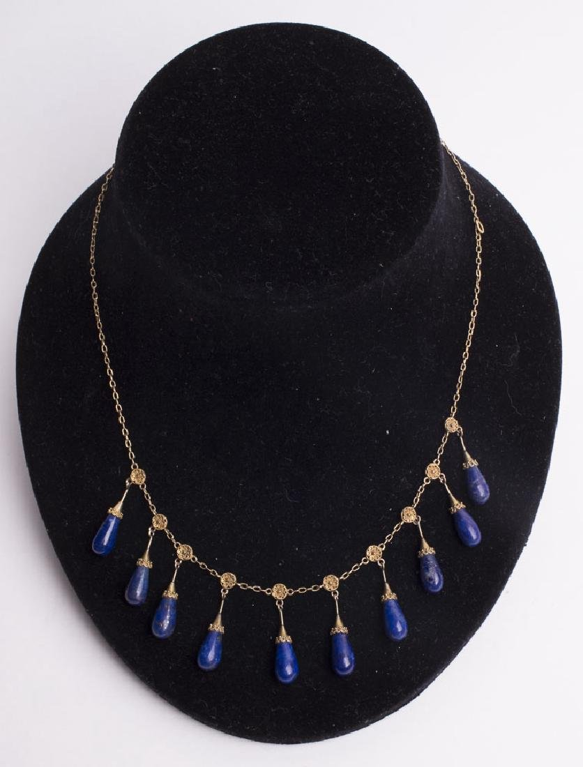 Victorian Gold Necklace with Lapis Lazuli