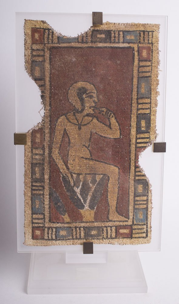 Egyptian Style Cartonnage Fragment with Harpocrates