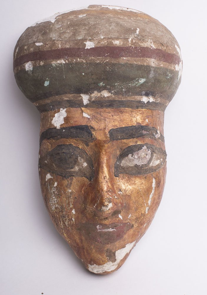 Egyptian Style Gilded Mummy Wood Mask
