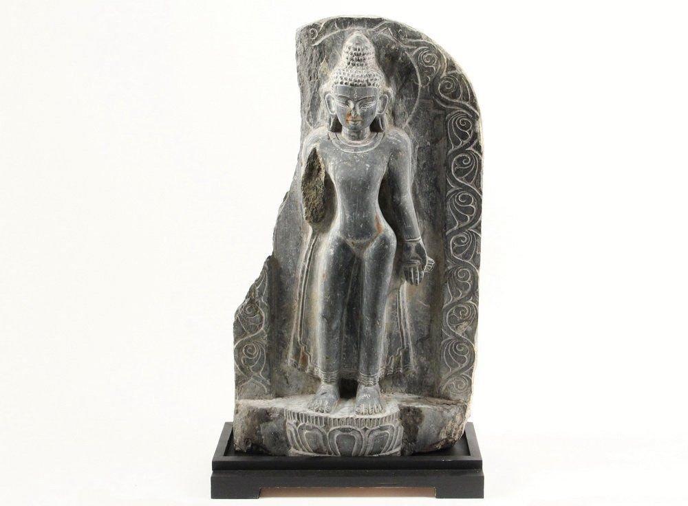 Indian STONE SCULTURE - Black Basalt Stele of Buddha