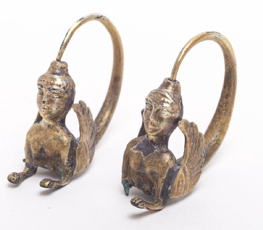 A Pair Of Ancient Near Eastern Gold Earrings c.6th C BC