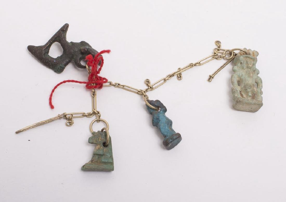 Lot of 4 Ancient Egyptian Faience Amulets c.620-30 BC
