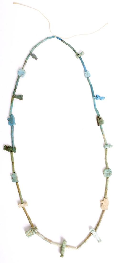 Ancient Egyptian Faience Beads Necklace with Amulets