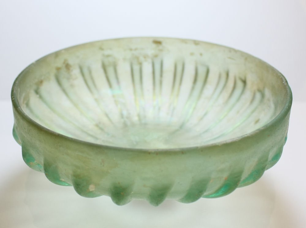 Ancient Roman Ribbed Glass Bowl c.1st-2nd century AD