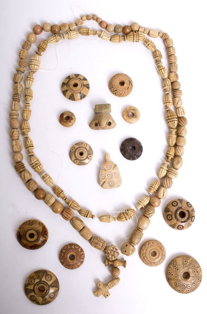 Ancient Coptic Bone Beads Necklaces, Spindles, Cross c.