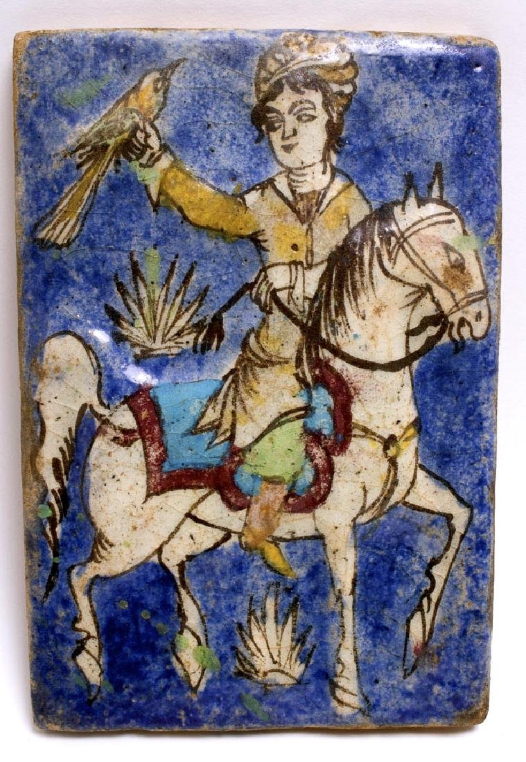 Persian Blue Glazed Ceramic Tile with Horse and rider