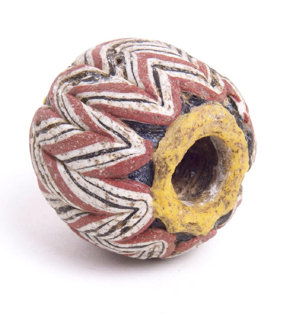 Large Ancient Rhineland Collared red White Melon Bead c
