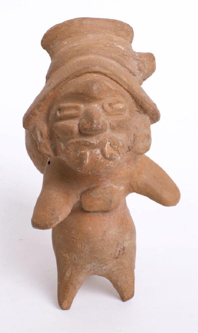 Ancient Pre Columbian Vera Cruz Pottery Whistle Figure - 3