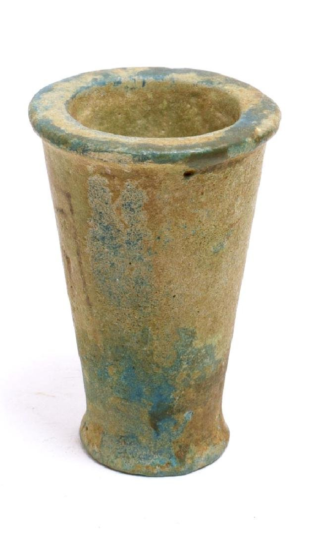 Ancient Egyptian Blue Faience Funerary Cup W Hieroglyph
