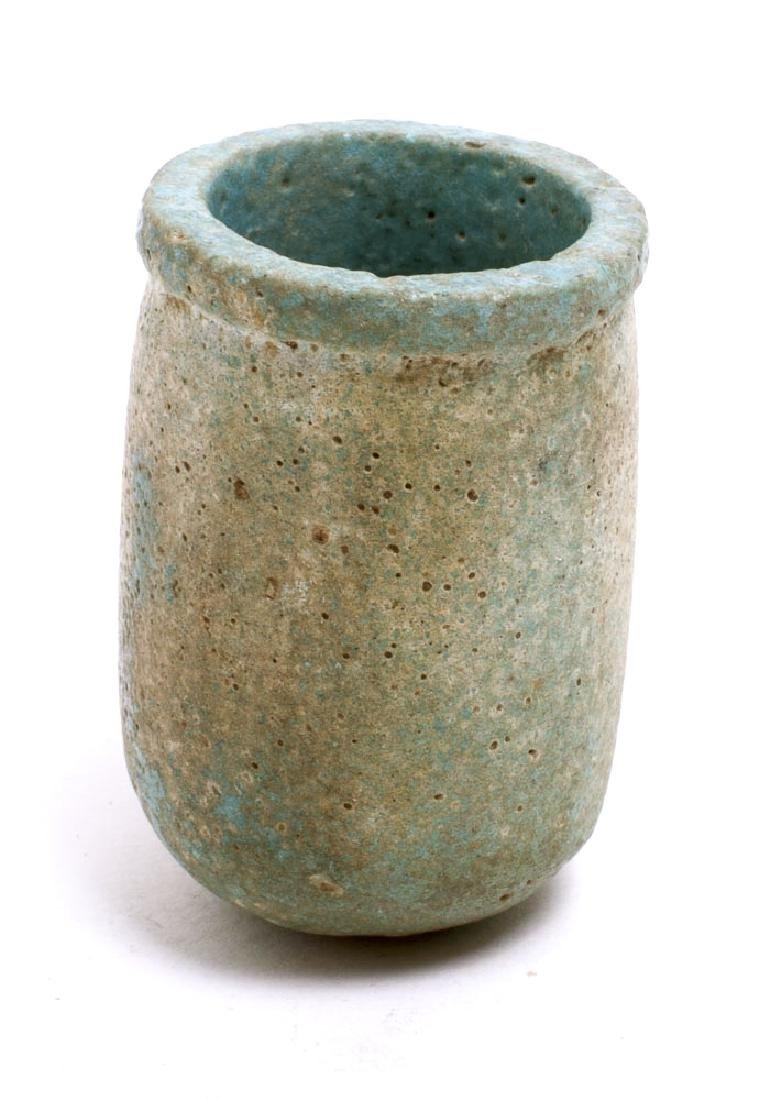 Ancient Egyptian Blue Faience Funerary Cup New Kingdom
