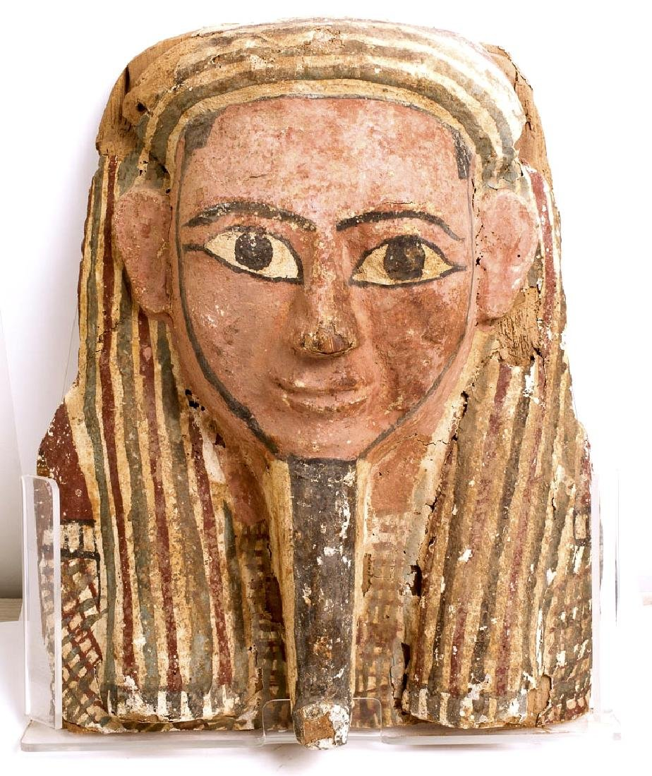Ancient Egyptian Upper Part Sarcophagus Mummy Mask c.70