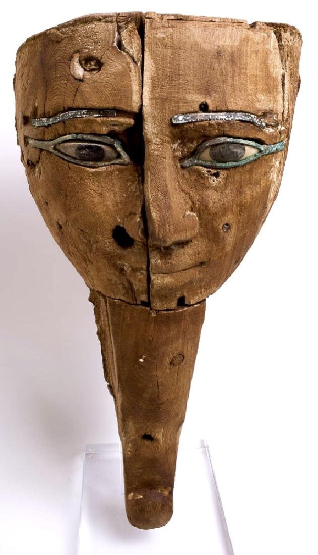 Ancient Egyptian Mummy Bearded Mask with Bronze Eyes
