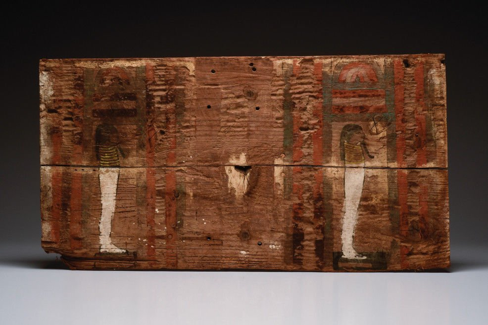 Large Ancient Egyptian Wooden Sarcophagus Panel Late Pe