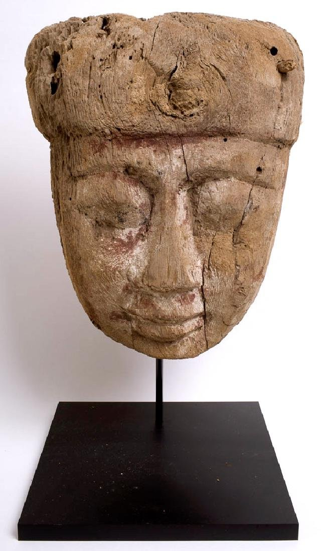 Ancient Egyptian Sarcophagus Mummy Wood Mask c.700 BC.