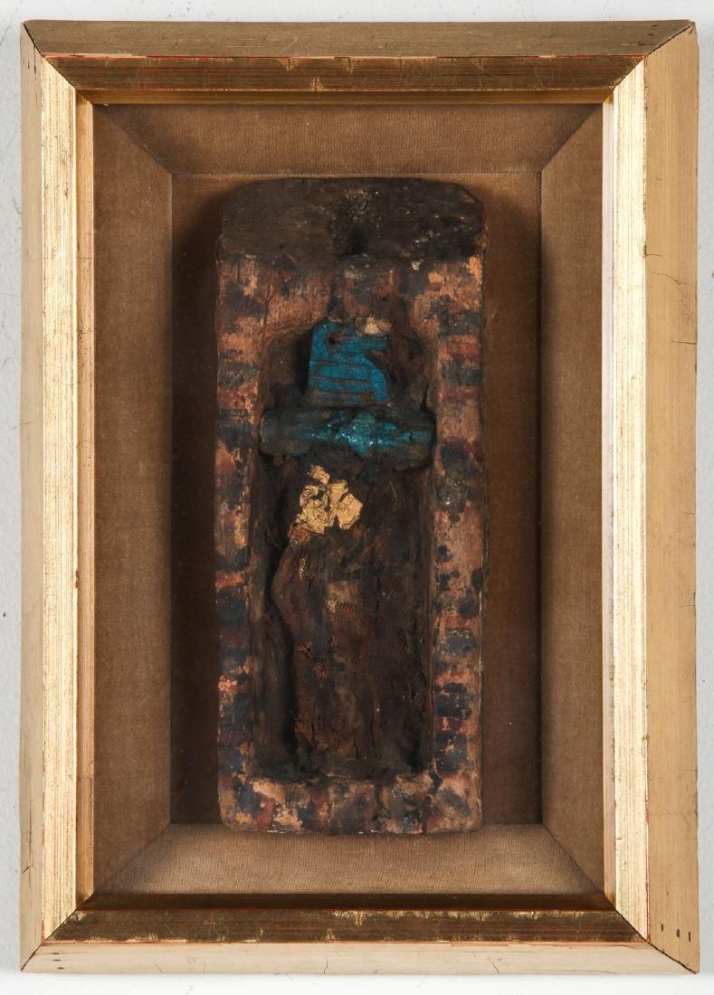 Ancient Egyptian Wood Sarcophagus with Mummified Bird.