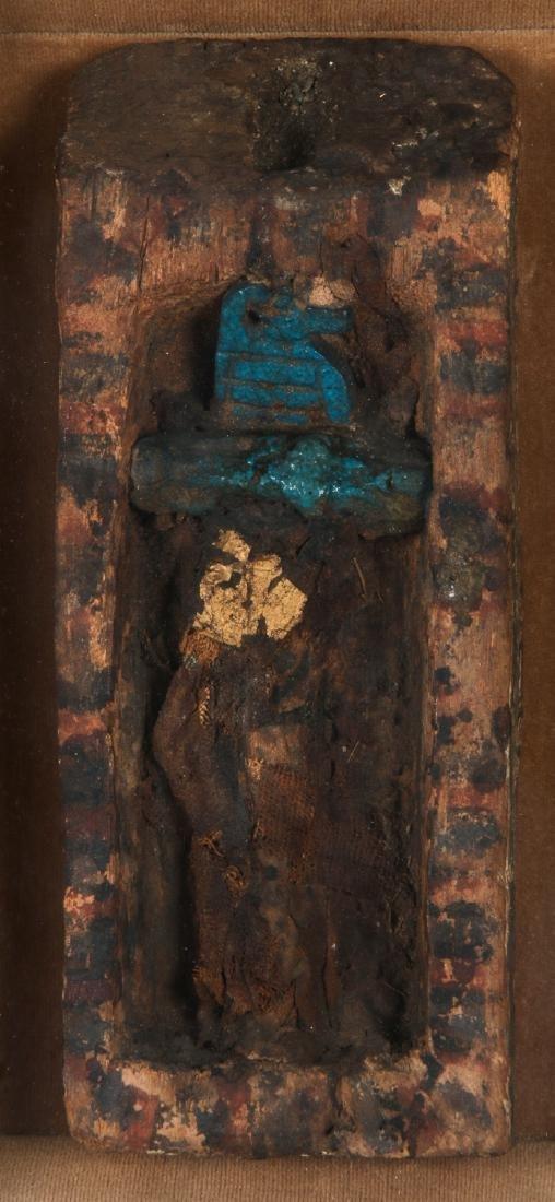 Ancient Egyptian Wood Sarcophagus with Mummified Bird. - 2