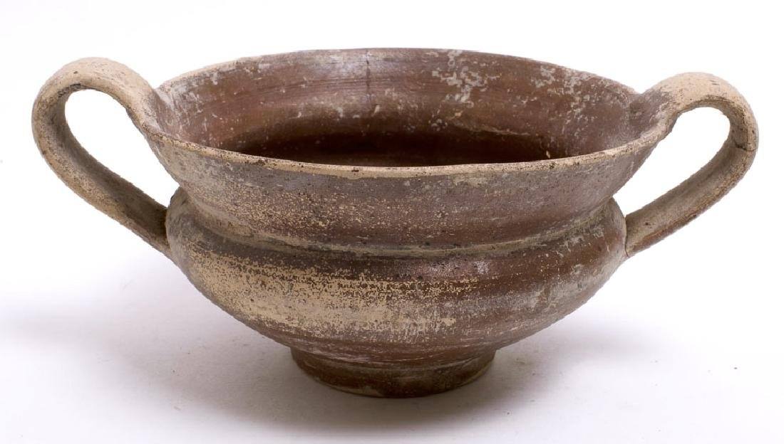 Ancient Apulian Pottery Skyphos Circa 4th Century BC.